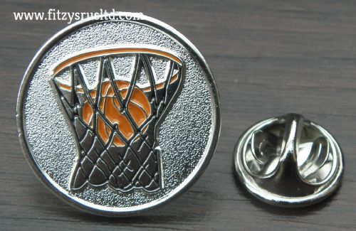 Basketball Lapel Hat Cap Tie Metal Pin Badge - B-ball Hoops Souvenir Gift - New